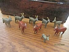 9 Antique miniature folkart hand carved farm animals horses goats toy miniatures