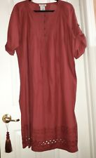 Jessica London Cotton Red Tunic Dress  with Eyelet  Embroidery & Pleating Sz 16
