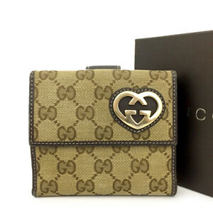 GUCCI GG Logo Beige Canvas Leather Bifold Wallet /B0169