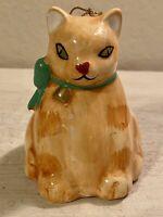 "Vintage Silvestri Porcelain Cat Figurine Bell Ornament 3.5""X 2.5"" ~ TAIWAN"