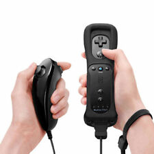 Black Built in Motion Plus Remote Controller And Nunchuck For Nintendo Wii&Wii U