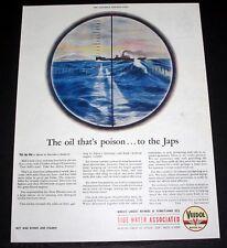 1944 WWII MAGAZINE PRINT AD, VEEDOL MOTOR OIL, SUBMARINE ATTACK, JAP TANKER ART!
