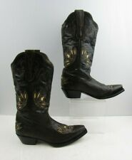 Ladies Pecos Belle Brown Distressed With Detail cowgirl Boots Size : 8