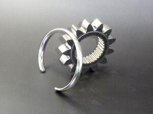 Men's Gents Oval Solid 925 Sterling Silver Open Torque Bangle Bracelet