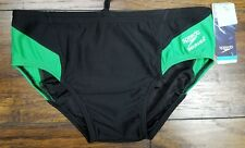 Speedo Men's Endurance+ Launch Brief Swimsuit, Green Black Briefs 32 New $44