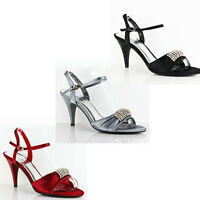 WOMENS WEDDING MID HIGH STILETTO HEEL ANKLE STRAP LADIES SHOES SANDALS SIZE 3-7