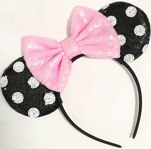 Polka Dot Sequin Minnie Mouse Ears, Mickey Minnie Mouse Ears, HANDMADE Disney