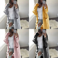 Coat Knitted Open Front Long Sleeve Solid Sweater Outwear Cardigan Womens