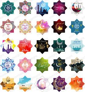 25 Eid Mubarak Stickers Labels Decorations Cards DIY Cupcakes Picks