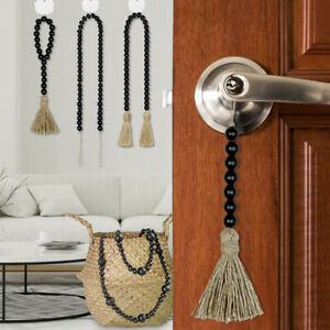 Wooden Beads Garlands With Tassel DIY Hanging Pendant Ornament Farmhouse Decor