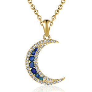 14K Yellow Gold 0.16CT Blue Sapphire Half Moon Style Gemstone Diamond Pendant