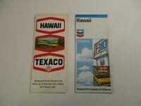 Lot of 2 Vintage Texaco & Chevron Hawaii Gas Station Travel Road Maps~Box L7