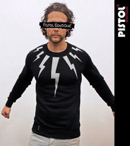 Pistol Boutique men's Black NECK CHEST LIGHTNING BOLTS Classic Sweatshirt Jumper