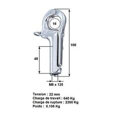 WICHARD 2831 - Corchet Pélican L 100 mm Charge travail 640kg M8x125mm *NEUF*