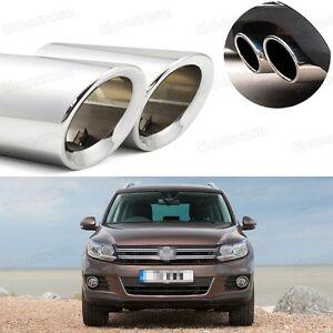 2Pcs Car Exhaust Muffler Tip Tail Pipe Trim Silver for VW Tiguan 2008-2016 #1030