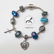 Stylish Sagittarius Zodiac Silver Blue Murano Rhinestone Heart Charm Bracelet