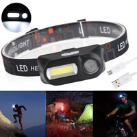 Mini COB LED headlight headlamp flashlight USB rechargeable torch night light~TR