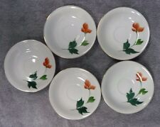 Lot of 5 Hand Painted Saucers With Orange Flower Made in Japan
