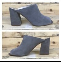 VINCE CAMUTO Jesika Block Heel Gray Suede Mules Size 9