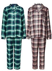 Ex Marks & Spencer Check Design Revere Collar Ladies Pyjama Pink -Navy size 6-22
