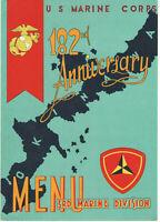 1957 MARINE CORPS USMC 182nd ANNIVERSARY BIRTHDAY MENU! OKINAWA! 3rd DIVISION!