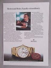 Charlton Heston for Rolex Chronometer Watch PRINT AD - 1981 ~~ wristwatch