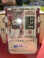 Justin Madubuike 2020 Panini Contenders Draft Pick College Ticket Auto Ravens Rc