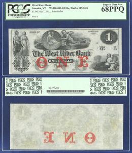 USA WEST RIVER BANK $1 JAMAICA VT PCGS CURRENCY SUPERB GEM 68PPQ