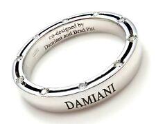 New! Authentic Damiani Brad Pitt 18k White Gold Diamond 4mm Band Ring Sz 8.5