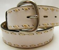 TONY LAMA WIDE WHITE SIDE LACED BRAIDED STITCHED STRAP COWBOY WESTERN BELT SZ 30