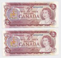 2 x Consecutive 1974 $2 Bank of Canada Notes EF/AU