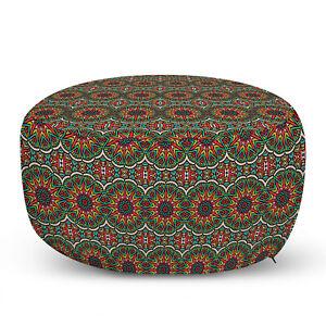 Ambesonne Mandala Ottoman Pouf Decor Soft Foot Rest & Removable Cover