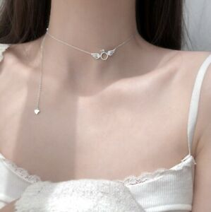 Tiffany angel wings engagement ring sterling silver 925 choker necklace