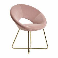 WOHNLING Esszimmerstuhl Samt / Metall Rosa Küchenstuhl Design Polsterstuhl Stuhl