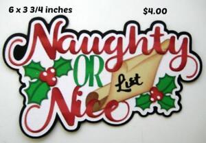 NAUGHTY OR NICE TITLE Christmas scrapbook premade paper piecing by Rhonda