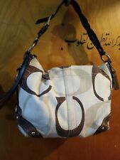 COACH CARLY TONAL C SIGNATURE CANVAS BROWN LEATHER HOBO SHOULDER BAG 12197