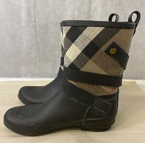Burberry House Check Plaid Rubber Rain Boots Size 38