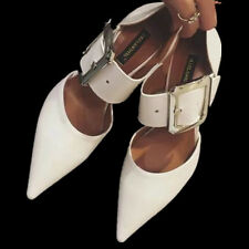 Womens shoes high heels pointed toes pumps stiletto ankle strap size 6 White