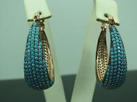 Turkish Handmade Jewelry 925 Sterling Silver Turquoise Stone Ladies' Earrings