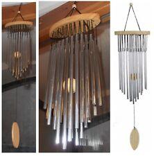 Campana a vento 22 canne in metallo pendente legno artigianato orientale