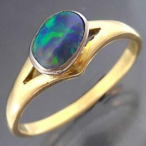 Genuine Solid BLACK PRECIOUS OPAL 18k Yellow GOLD & PLATINUM Solitaire RING Sz T