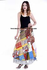 Indian Satin Silk Wrap Around Rapron Party Dress Patchwork Long Skirt Bohemian