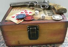 WESTERN WOOD GAMBLER BOX With Chips, Dice, Cards, Gun, Bullet on Top