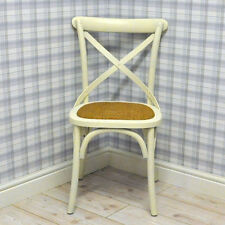 Traditional Cream Oak Chair Dining Room Cross Back Reproduction Bistro Style