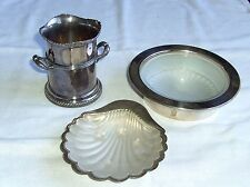 VINTAGE SILVER PLATED BOWL GLASS LINER, SHELL BUTTER DISH, TWIN HANDLED COOLER
