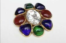 Cabochon Glass Lge Crystal Pin/Brooch Large Vintage Chanel Season 26 Gripoix
