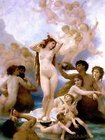 "The Birth of Venus 8.5x11"" Photo Print William Adolphe Bouguereau Nude Woman Art"