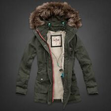 Hollister Sherpa Lined Parka Jacket Coat by Abercrombie  Small