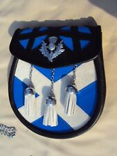 Black Leather Scotland Flag Pattern along Thistle Badges with free Chain Sporran