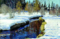 Oil painting impressionism winter landscape with creek forest no framed canvas